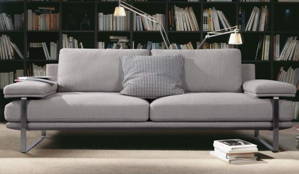 FRM6008 2SEAT DESIGNER SOFA FABRIC&STAINLESS3