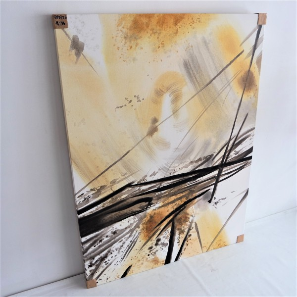 BLACK & GOLD ABSTRACT OIL PAINTING - SPP03563