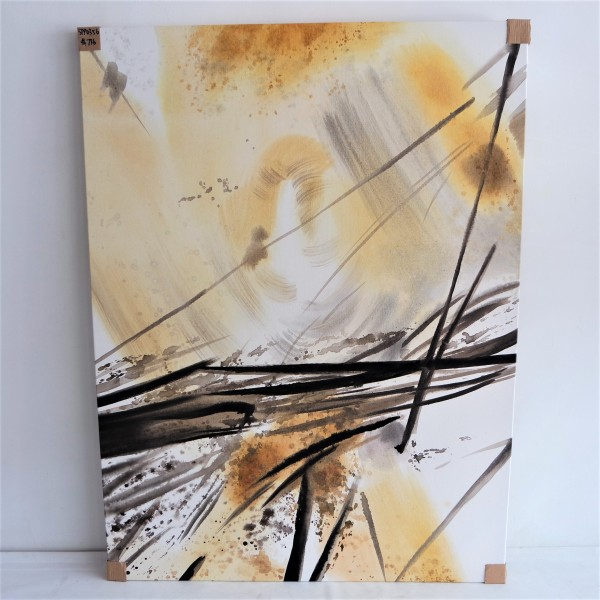 BLACK & GOLD ABSTRACT OIL PAINTING - SPP03565