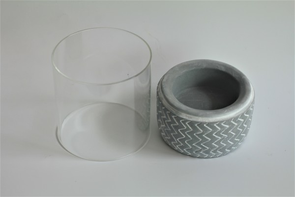 CEMENT BASE CANDLE HOLDER - DCT91126