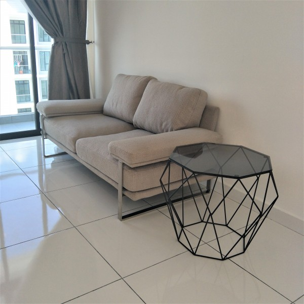 FRM6008 2SEAT DESIGNER SOFA FABRIC&STAINLESS4