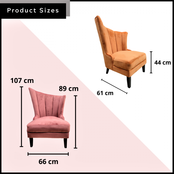 VELVET WING CHAIR / LOUNGE CHAIR - FRM72166