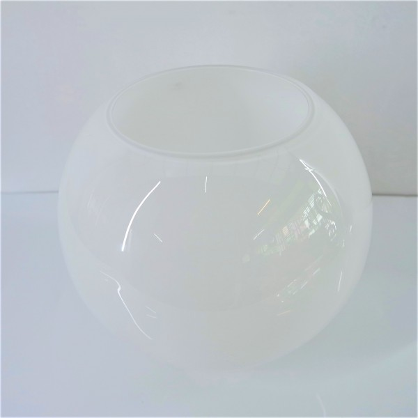 WHITE ROUND GLASS  VASE - DCT10563