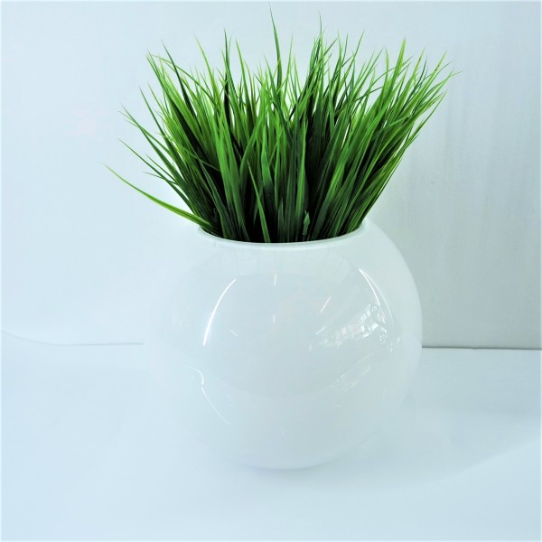 WHITE ROUND GLASS  VASE - DCT10564