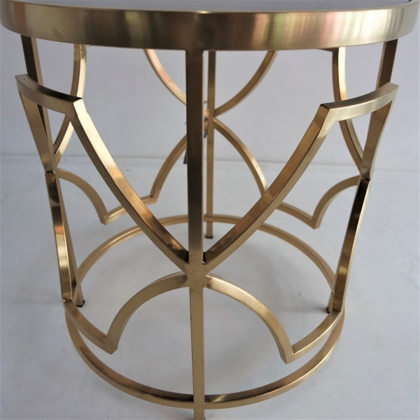 ROUND GOLD FRAME SIDE TABLE - FRM2100-GD3