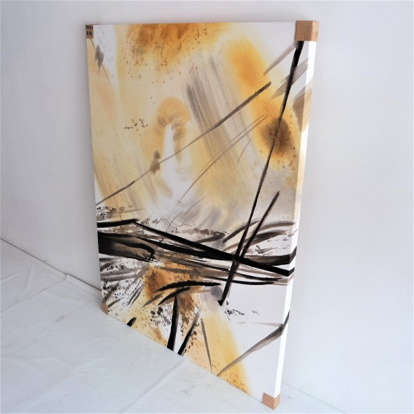 BLACK & GOLD ABSTRACT OIL PAINTING - SPP03562