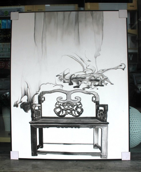 SPP0301 WOOD CHAIR OIL PAINTING1